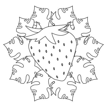 strawberry summer time tropical leaves sketch vector illustration Ilustrace