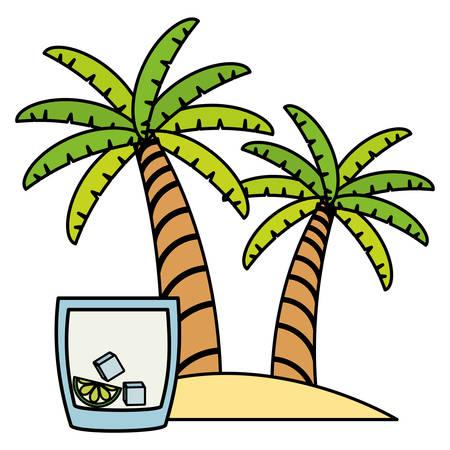 trees palms beach scene with lemonade cocktail vector illustration design Фото со стока - 129661741