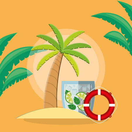 trees palms beach scene with lemonade cocktail and float vector illustration design Иллюстрация