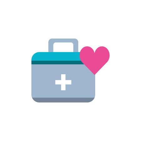 trousse de premiers soins avec coeur isolé icône illustration vectorielle conception