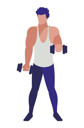 athletic man weight lifting character vector illustration design 写真素材 - 129661824
