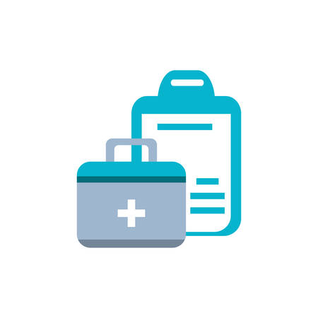 clipboard with document hospital and first aid kit vector illustration design