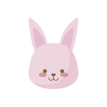 head of cute rabbit animal character vector illustration design