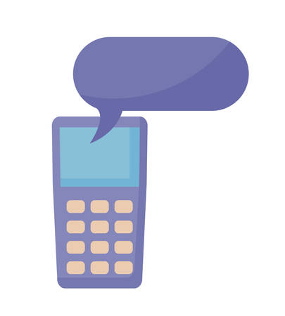 dataphone device with speech bubble vector illustration design