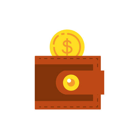coin dollar with wallet money vector illustration design