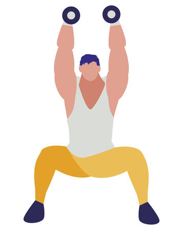 athletic man weight lifting character vector illustration design 写真素材 - 129673531
