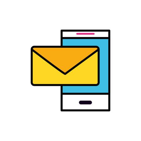 smartphone device with envelope email send vector illustration design