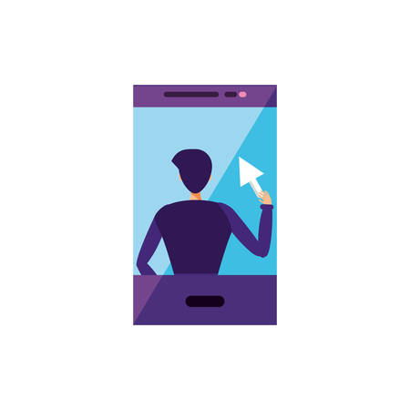 young man using smartphone character vector illustration design