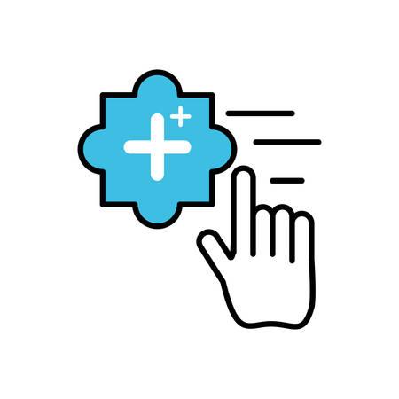 hand cursor index with add plus symbol vector illustration design