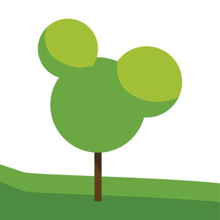 tree plant in the field vector illustration design