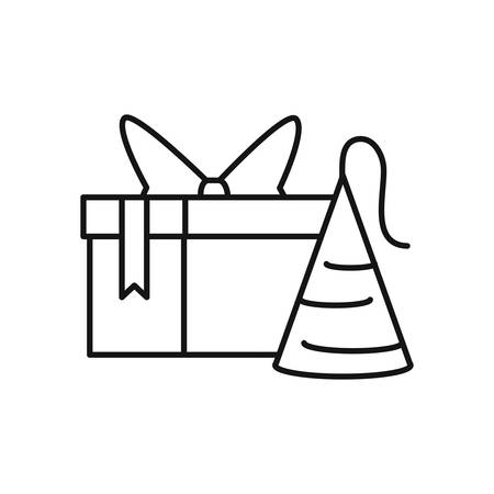 gift box with hat party vector illustration design