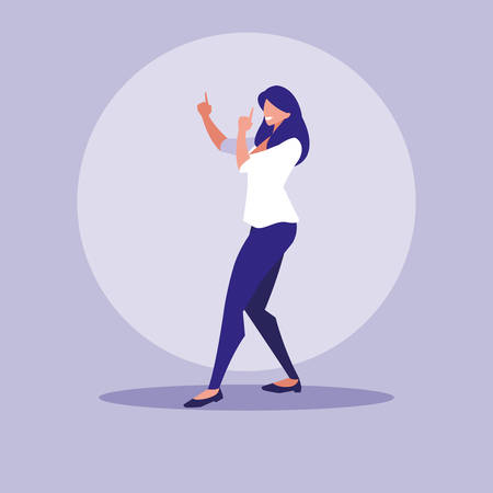 woman dancing avatar character vector illustration design