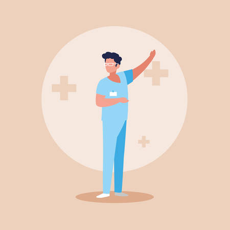 doctor profession with uniform avatar character vector illustration design