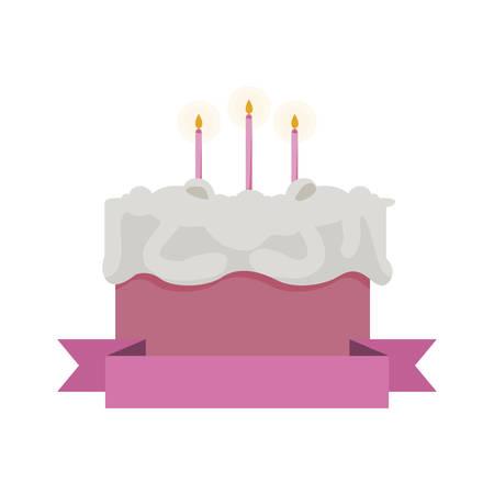 sweet cake birthday with ribbon frame vector illustration design 일러스트