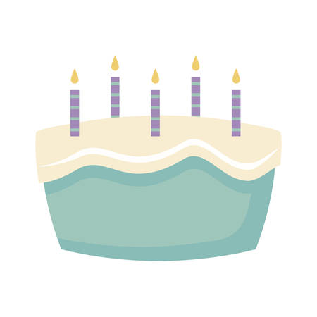 sweet cake with candles isolated icon vector illustration design 일러스트