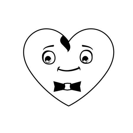 heart male kawaii character vector illustration design Illustration
