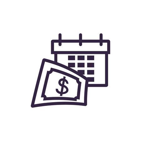 calendar reminder with bill dollar vector illustration design
