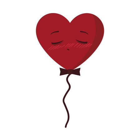 balloon helium with heart male kawaii character shape vector illustration design Illustration