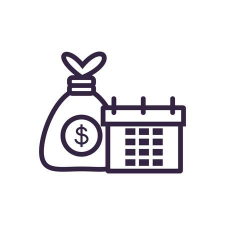 calendar reminder with money bag vector illustration design Ilustração