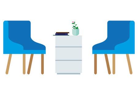 waiting room scene icons vector illustration design  イラスト・ベクター素材