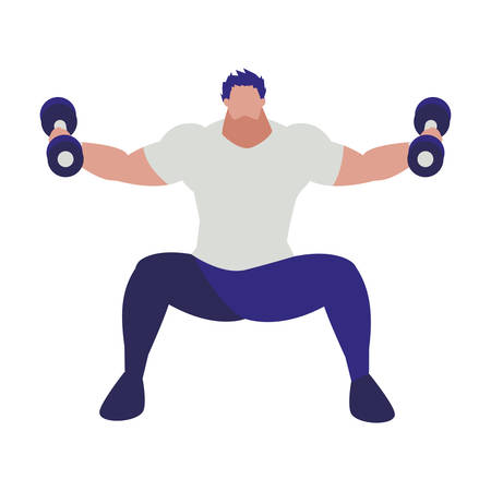 athletic man weight lifting character vector illustration design 写真素材 - 129690315