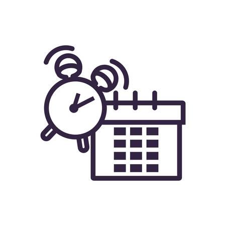 alarm clock with calendar reminder vector illustration design