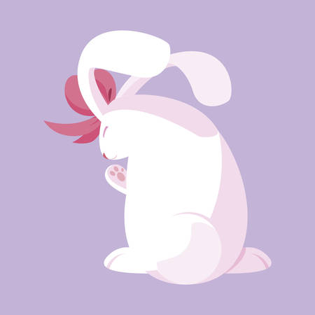 cute rabbit easter with bow character vector illustration design