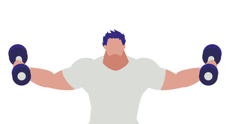 athletic man weight lifting character vector illustration design 写真素材 - 129691691