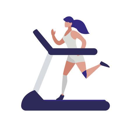 athletic woman running in electric treadmill tape vector illustration design Ilustracja