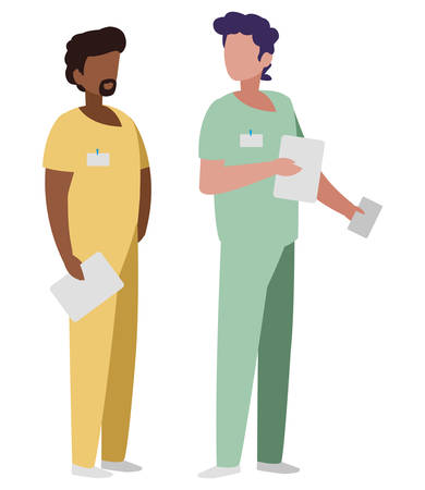 interracial male medicine workers with uniforms vector illustration design