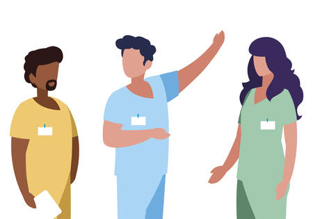 interracial group medicine workers with uniform characters vector illustration design 일러스트