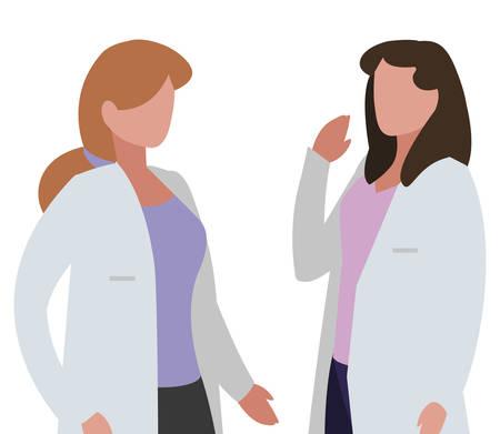 girls doctors professional characters vector illustration design Ilustração