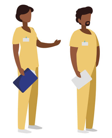 afro couple medicine workers with uniform characters vector illustration design