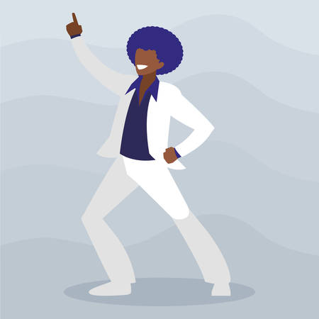 young black dancer disco style character vector illustration design 스톡 콘텐츠 - 129693370