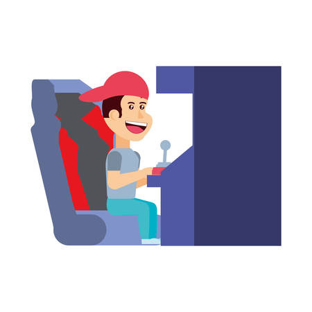 boy playing in retro console video game machine vector illustration design