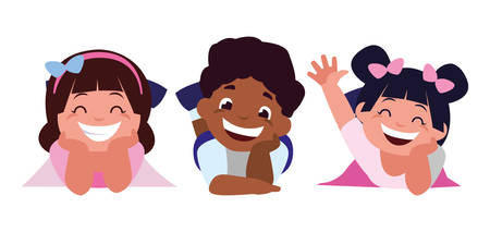 happy little interracial kids characters vector illustration design 일러스트