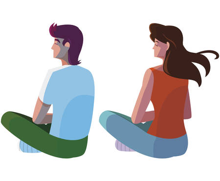 couple seated back characters vector illustration design  イラスト・ベクター素材