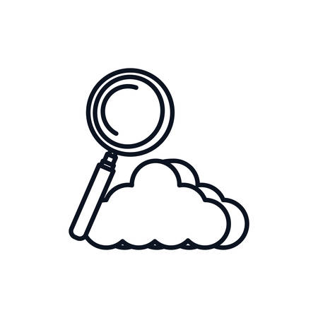 magnifying glass with cloud computing vector illustration design Stock fotó - 129804733