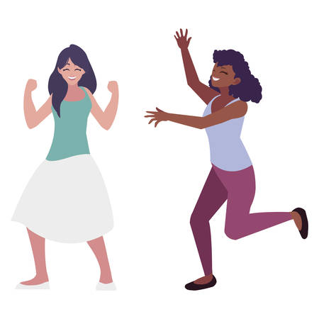 happy young interracial women celebrating vector illustration design Standard-Bild - 129804739