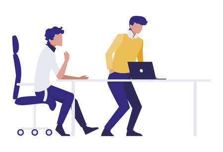 couple of businessmen seated in the office scene vector illustration design  イラスト・ベクター素材