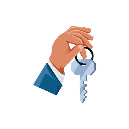 hand with key security isolated icon vector illustration design