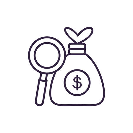 search magnifying glass with bag money vector illustration design Stock fotó - 129804784
