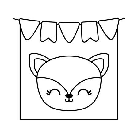 head of cute fox in frame with garlands hanging vector illustration design
