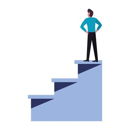 businessman on top success ladder vector illustration 스톡 콘텐츠 - 129804812