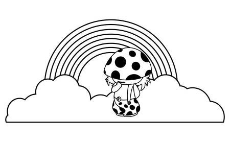 fungu elf with rainbow magic character illustration design