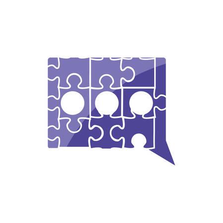 puzzle pieces in shape speech bubble vector illustration design