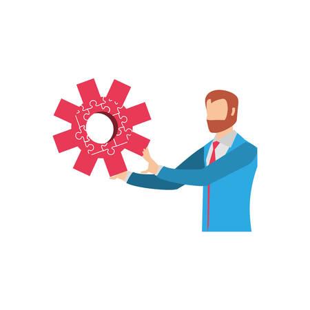 businessman with puzzle pieces in shape pinion vector illustration design Illusztráció