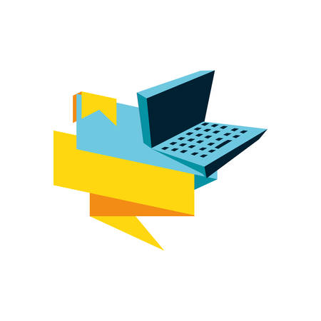 laptop computer device with ribbon vector illustration design