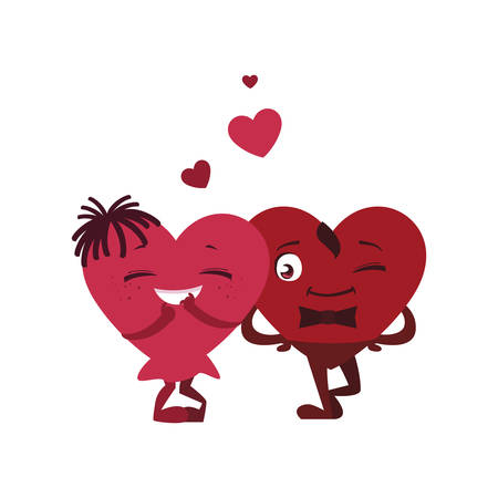 couple hearts characters vector illustration design