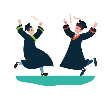 happy students boys graduated celebrating vector illustration design Illusztráció